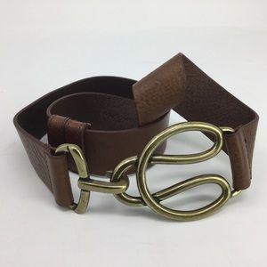 Olga Santini Textured Brown Leather Slide Belt